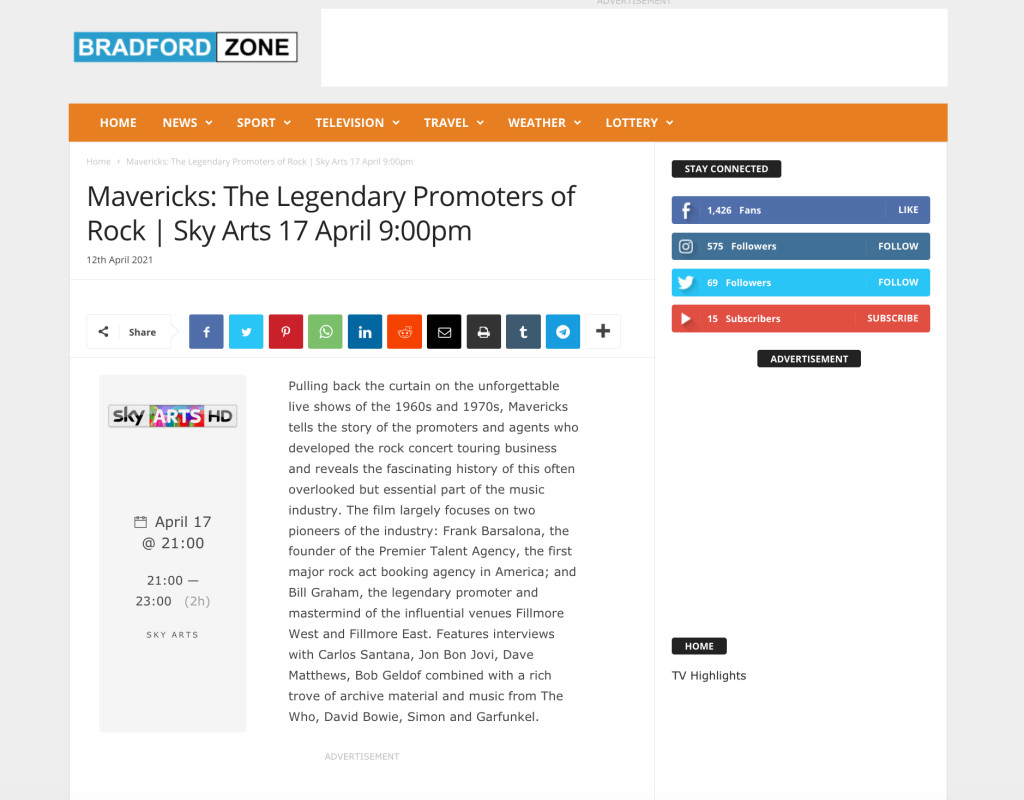 Bradford TV listing